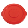"Rubbermaid Commercial Round Flat Top Lid, for 32-Gallon Round Brute Containers, 22 1/4"", dia., Red"