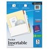 Insertable Dividers w/Single Pockets, 5-Tab, 11 1/4 x 9 1/8