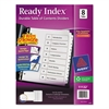 Ready Index Customizable Table of Contents Black & White Dividers, 8-Tab, Letter