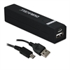 Portable Power Bank with Micro USB Cable, 2600 mAh, Black