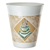 Dart Cafe G Foam Hot/Cold Cups, 8 oz, Brown/Green/White, 25/Pack