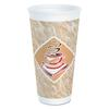 Cafe G Foam Hot/Cold Cups, 20 oz, Brown/Red/White, 20/Pack