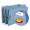 Smead Folders, Two Fasteners, 1/3 Cut Assorted, Top Tab, Legal, Blue, 50/Box