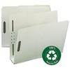 "Recycled Pressboard Fastener Folders, Letter, 3"" Exp., Gray/Green, 25/Box"