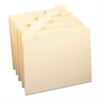 File Folders, 1/5 Cut, One-Ply Top Tab, Letter, Manila, 100/Box