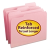 File Folders, 1/3 Cut, Reinforced Top Tab, Letter, Pink, 100/Box