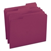 File Folders, 1/3 Cut Top Tab, Letter, Maroon, 100/Box