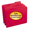 File Folders, 1/3 Cut, Reinforced Top Tab, Letter, Red, 100/Box