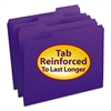 File Folders, 1/3 Cut, Reinforced Top Tab, Letter, Purple, 100/Box