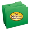 File Folders, 1/3 Cut, Reinforced Top Tab, Letter, Green, 100/Box