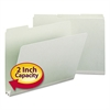 Recycled Folder, Two Inch Expansion, 1/3 Top Tab, Letter, Gray Green, 25/Box