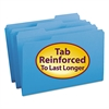 File Folders, 1/3 Cut, Reinforced Top Tab, Legal, Blue, 100/Box