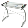 Safco Xpressions Glass Top Drafting Table, 41w x 24d x 31 1/2 to 40h, Silver