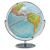 "Political/Physical World Globe, 12"" dia, Silver Metal Base"