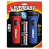 Eveready LED Economy Flashlight, Red/Blue, 2/Pack