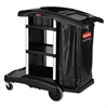 Rubbermaid Commercial Executive High Capacity Janitorial Cleaning Cart, 22.5w x 38.5d x 20.5h, Black