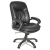 OIF Executive Swivel/Tilt Leather High-Back Chair, Fixed Arched Arms, Black