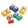 Westcott Manual Pencil Sharpeners, Red/Blue/Green/Yellow, 4w x 2d x 1h, 24/Pack