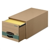 Super STOR/DRAWER Steel Plus Storage Box, Letter, Kraft/Green, 6/Carton