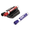 EXPO Magnetic Clip Eraser w/3 Markers, Chisel, Black/Blue/Red, 1 Set