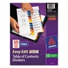 Avery Ready Index Customizable Table of Contents, Asst Dividers, 10-Tab, Ltr, 6 Sets