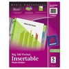 Insertable Big Tab Plastic Dividers w/Single Pockets, 5-Tab, 11 1/8 x 9 1/4