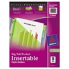 Avery Insertable Big Tab Plastic Dividers w/Single Pockets, 8-Tab, 11 1/8 x 9 1/4