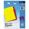Write-On Heavy-Duty Plastic Tab Dividers w/White Labels, 5-Tab, Letter