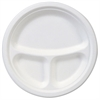 "Dixie EcoSmart Molded Fiber Dinnerware, 3-Compartment Plate, White,10""Dia, 500/Carton"