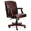 Alera Traditional Series Mid-Back Chair, Mahogany Finish/Oxblood Vinyl