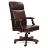 Alera Alera Traditional Series High-Back Chair, Mahogany Finish/Oxblood Vinyl