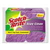 Stay Clean Non-Scratch Scrub Sponges, 3 3/16 x 7/8 x 4 3/4, Purple, 6/Pack