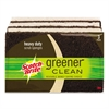 Greener Clean Heavy-Duty Scrub Sponge, 2 7/10 x .75 x 4 3/5, Brown, 3/Pack