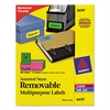 Avery High-Visibility Removable ID Labels, Laser/Inkjet, 1 x 2 5/8, Asst. Neon, 360/PK