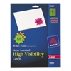 High-Visibility Permanent ID Label Bursts, Laser, 2 1/4 dia, Asst. Neon, 180/PK