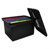 File Tote Storage Box w/Lid, Legal/Letter, Plastic, Black