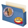 "3 1/2"" Exp Colored File Pocket, Straight Tab, Legal, Blue"