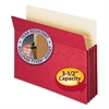 "3 1/2"" Exp Colored File Pocket, Straight Tab, Letter, Red"