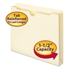 "Manila File Jackets, 1 1/2"" Exp, Letter, 11 Point, Manila, 50/Box"