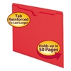 Colored File Jackets w/Reinforced 2-Ply Tab, Letter, 11pt, Red, 100/Box