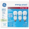 GE Energy Smart Spiral CFL, 13 Watt, T3 Spiral, 3 Bulbs/Pack, 4 Packs/Carton