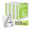 """Basic Round-Ring View Binder Plus Pack, 1"""" Cap, White, 4/Carton"""