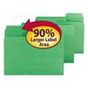 Smead SuperTab Colored File Folders, 1/3 Cut, Letter, Green, 100/Box