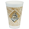 Dart Café G Hot/Cold Cups, Foam, 16 oz, White/Brown with Green Accents, 25/Pack