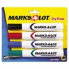 Marks-A-Lot Desk-Style Dry Erase Marker, Chisel Tip, Assorted, 4/Set