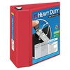 "Heavy-Duty View Binder w/Locking 1-Touch EZD Rings, 5"" Cap, Red"