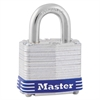 "Master Lock Four-Pin Tumbler Lock, Laminated Steel Body, 1 9/16"" Wide, Silver/Blue, Two Keys"