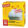 Glad Tall Kitchen Drawstring Bags, 24 x 27 3/8, 13gal, .95mil, White, 100/Box, 4/CT