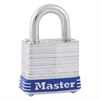 "Master Lock Four-Pin Tumbler Lock, Laminated Steel Body, 1 1/8"" Wide, Silver/Blue, Two Keys"