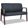 Alera Reception Lounge Series Wood Loveseat, 44 7/8 x 26 1/8 x 33 Black/Mahogany
